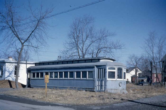 In this early 1950s view, a Lehigh Valley Transit Co. city streetcar has been converted into someone's storage shed or chicken coop. (Author's collection)