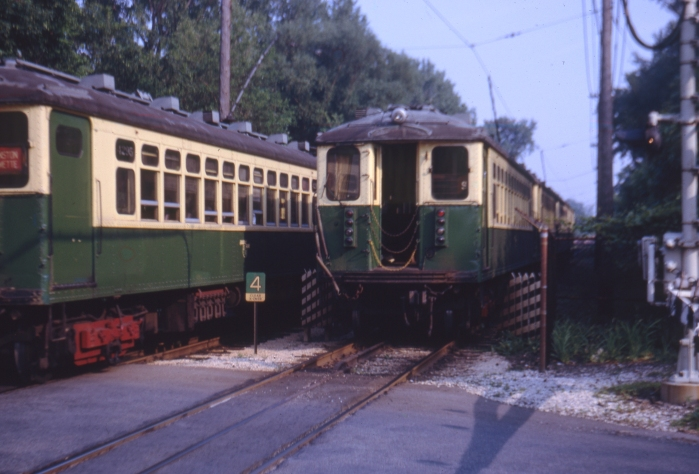 4000s in the twilight (literally) of their Evanston/Wilmette service in the early 1970s. (Author's collection)