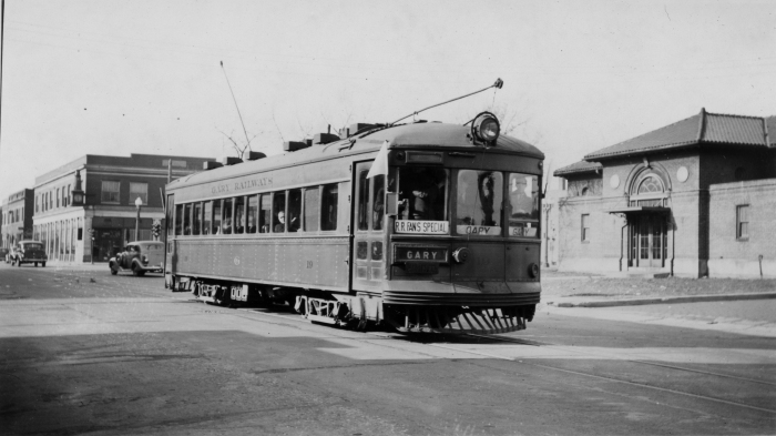 Gary Railways car 19 at Indiana Harbor on an early CERA fantrip (March 19, 1939). Regular service here had ended the day before. Notice no CERA drumhead, however. (C. Edw. Hedstrom photo, Author's collection)