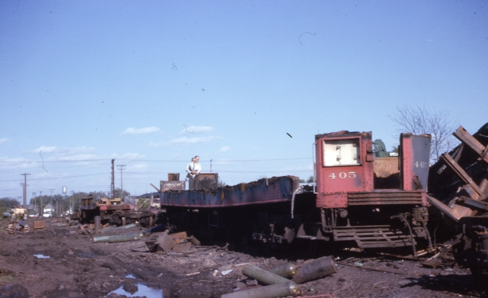 What was left of CA&E 405 in 1963 at Wheaton. (Author's collection)