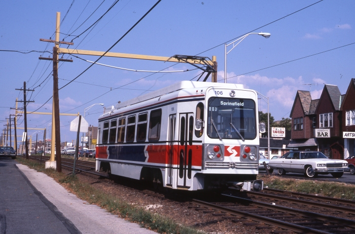 SEPTA Kawasaki-built LRV #106 near the Avon Road station in Upper Darby, PA in August 1983. (Author's collection)