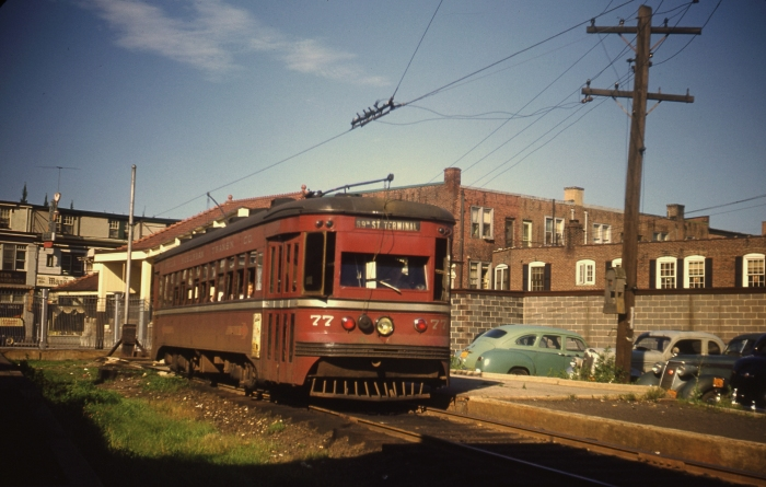 "Red Arrow Brill-built ""Master Unit"" interurban trolley #77 at Ardmore on July 23, 1949. (Photo by James J. Buckley, Author's collection)"