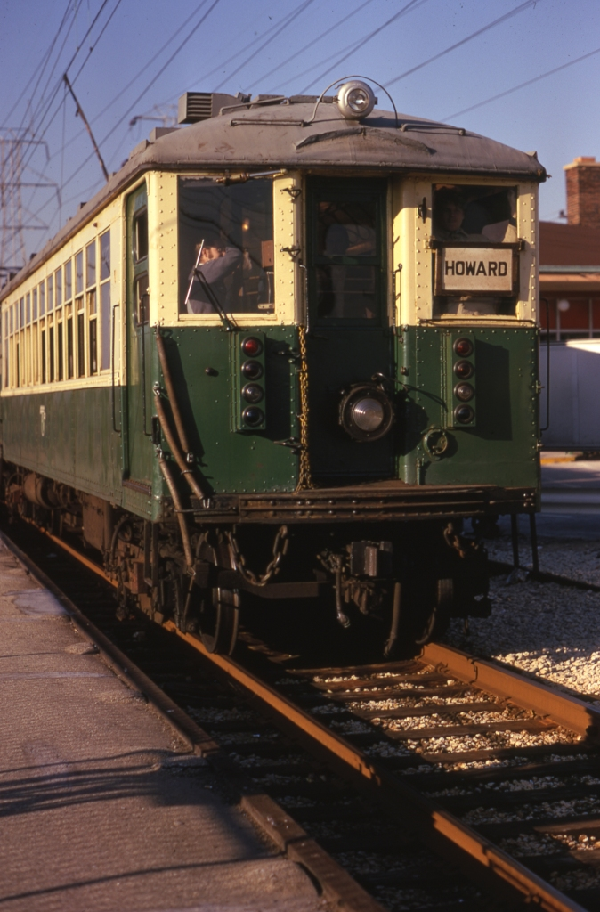 CTA 4271 at Dempster (Skokie Swift) on October 21, 1973, shortly before being repainted in brown. (Photo by Arthur H. Peterson, Author's collection)