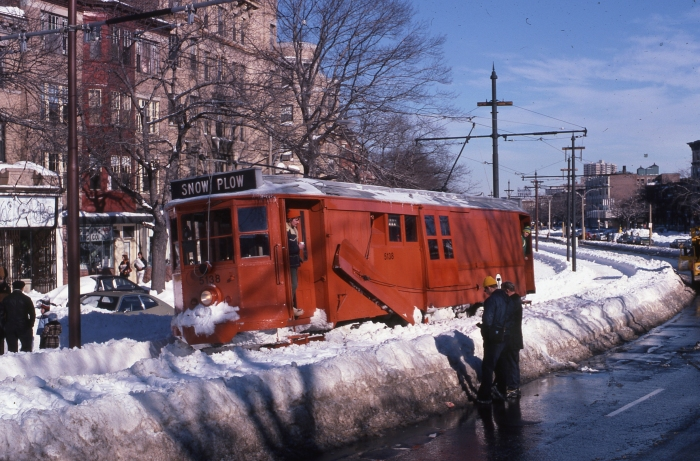 MBTA snow plow 5138 at work on January 22, 1978. (Author's collection)