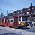 """Sadly, none of Chicago's """"Sedans"""" (aka Peter Witts) were saved, even though they were some of CSL's finest cars ever. Here we see 3377 on May 6, 1951, at 95th and Cottage Grove. (Author's collection)"""