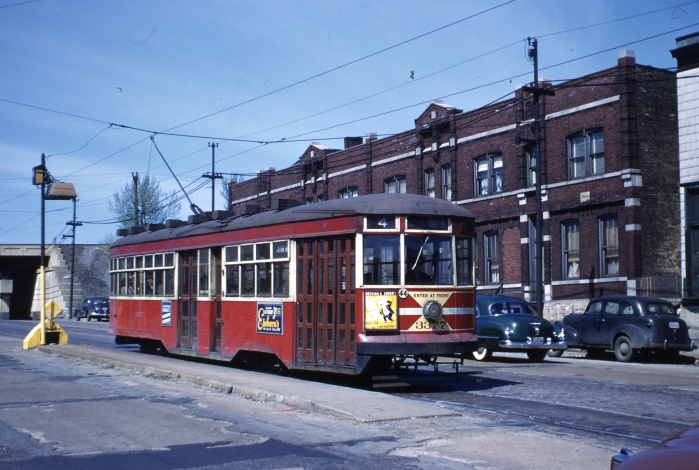 "Sadly, none of Chicago's ""Sedans"" (aka Peter Witts) were saved, even though they were some of CSL's finest cars ever. Here we see 3377 on May 6, 1951, at 95th and Cottage Grove. (Author's collection)"