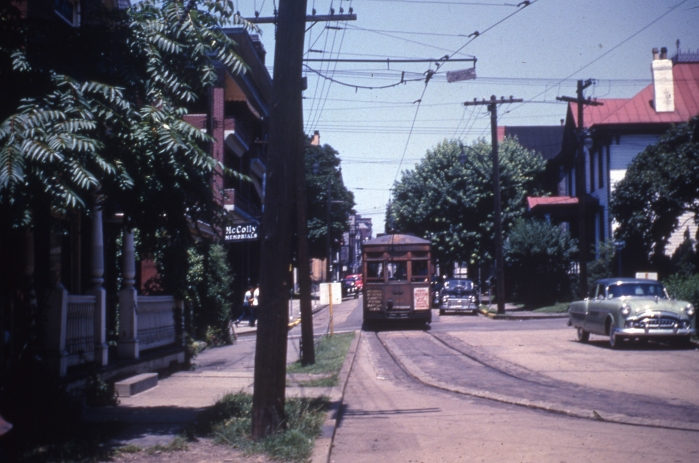 West Penn railways 286 in Greensburg, Pennsylvania on July 12, 1952. The trolley represents a way of American life that has vanished much as the nearby Packard automobile has. But it is making a comeback. (Author's collection)