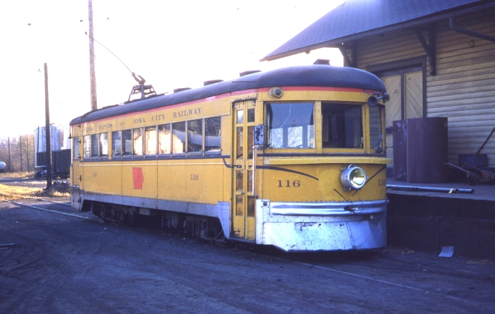 CRANDIC 116, ex-C&LE, in Iowa City on October 26, 1952. This car is preserved at the Branford Trolley Museum. (Author's collection)