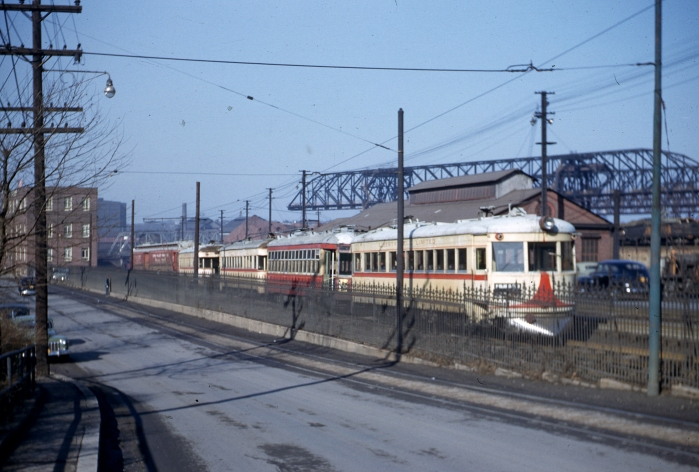 LVT cars 1006, 910, 1021, 1002 and C17 on the scrap track at Bethlehem Steel on January 23, 1952. In some cases, LVT scrapped city streetcars the day after they were taken out of service. (Author's collection)