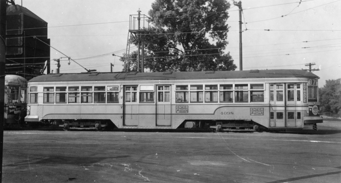 "Again, what a shame that none of the Cleveland ""Peter Witts"" were saved. Here, we see CTS 4098 at the Euclid Car House on June 12, 1950. This car was scrapped on November 10, 1953. Car 4144 was sold to Norman Muller in 1954, and moved to his residence in South Lorain, where it was painted green and lettered ""Arlington Traction Co."" Muller had a whistle and pipe organ installed. Unfortunately, when the car came up for sale again, Gerald Brookins had just purchased an abundance of CA&E cars and took a pass. Thus the last Cleveland Witt was scrapped in 1962. (Author's collection)"