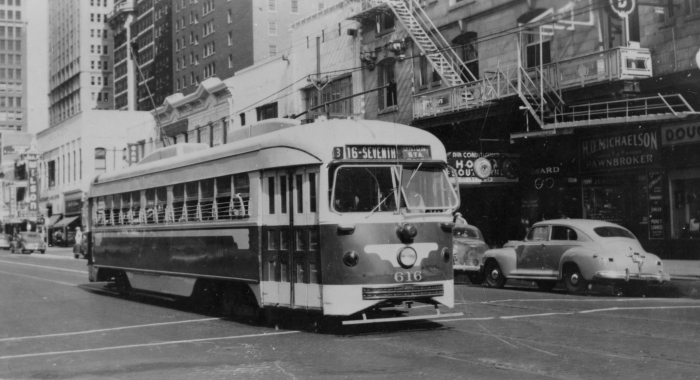 Double-end PCC cars like this ran in Dallas from 1945 to 1956, and then in Boston from 1959 to 1981. Sister car 612 (renumbered 3334 in Boston) has been purchased by the McKinney Avenue Transit Authority and may run again on Dallas streets, once restored. Here we see 616 in July, 1946. (Author's collection)