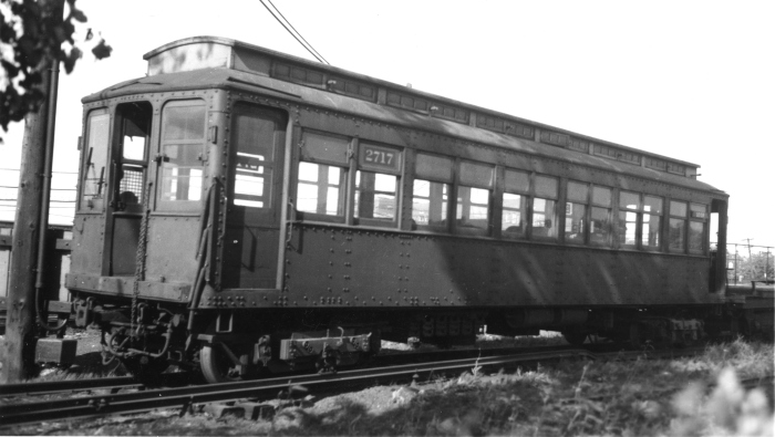 "Chicago Rapid Transit all-steel ""L"" car 2717 was originally built as an experiment in 1904 by ACF to replace a wood car that had burned up. It ran on the Metrolpolitan West Side Elevated, but unfortunately was not saved. (Author's collection)"