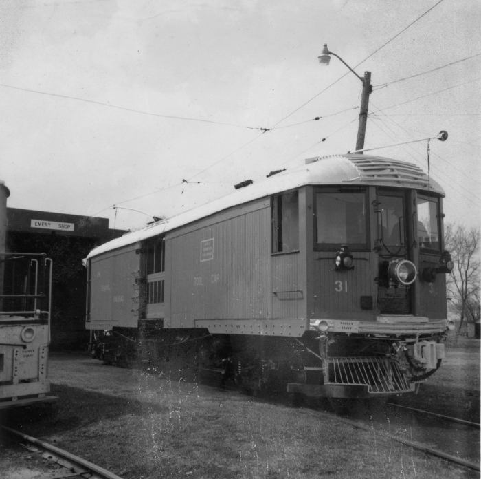 CNS&M 216 survived the abandonment of that interurban in 1963 to become Iowa Terminal Railroad tool car 31. Here it is shown on April 27, 1964 at Emery Shops, just after being repainted. Unfortunately, this car was destroyed in a fire on November 24, 1967. (Author's collection)