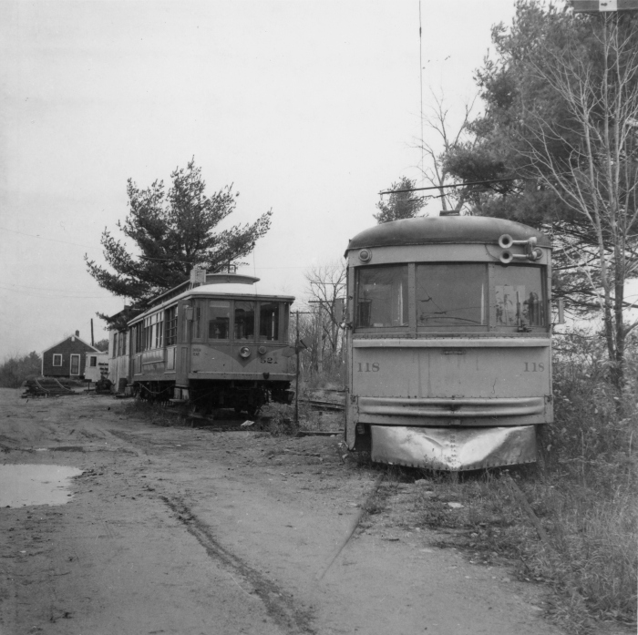 The Seashore Electric Railway Museum in Maine on October 26, 1955. At left we see ex-Los Angeles Railway narrow gauge car 521, with ex-CRANDIC (and C&LE) high-speed car 118 on the right. (Author's collection)