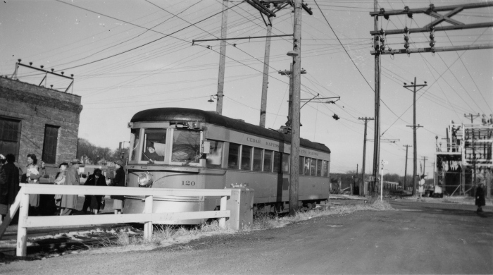 CRANDIC 120 at Iowa City on November 27, 1952. This car is preserved today at IRM as Indiana Railroad 65. (Author's collection)