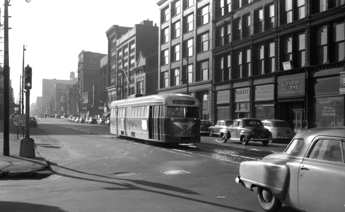 "Frame 13 - ""Prewar PCC, presumably 4-Cottage Grove, northbound on Wabash at 11th Street. The Ludington Building at right is a good clue."" -GF ""1104 S. Wabash Ave."" -JW"