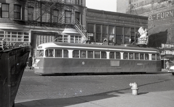 """Frame 16 - """"Prewar PCC 4028 as a 4 (Cottage Grove) car southbound on Wabash approaching Roosevelt."""" -GF"""