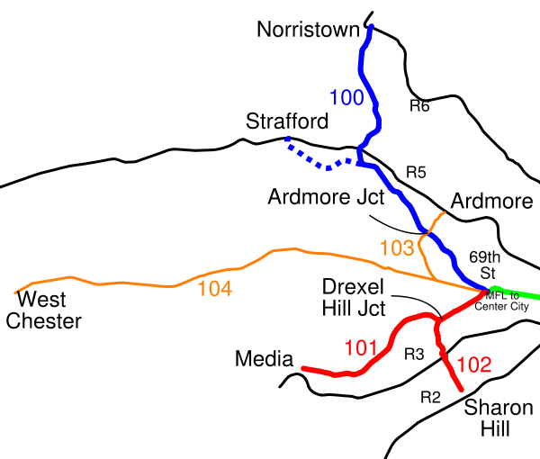 A map showing the historic Red Arrow trolley lines (from the Wikipedia).