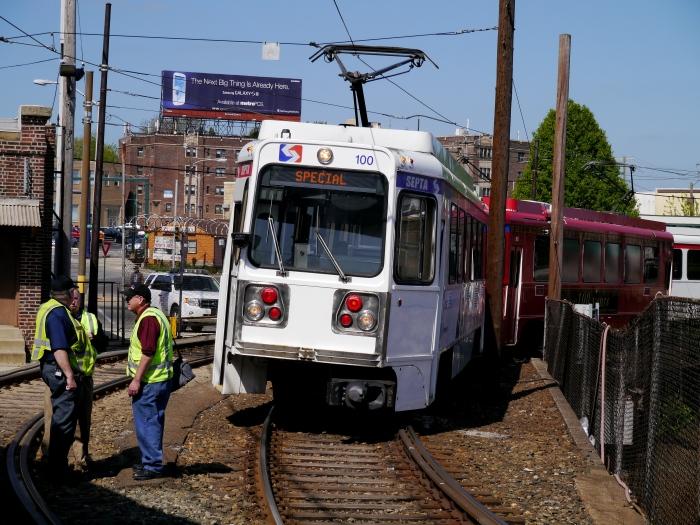 Our fantrip train at 69th Street terminal in Upper Darby, PA. (Photo by David Sadowski)