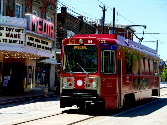 Car 101 running on State Street by the historic Media Theater. (Photo by David Sadowski)