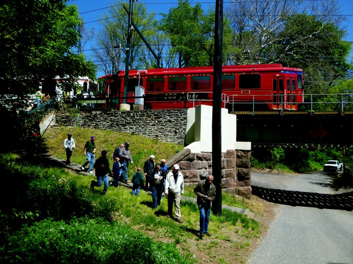 """Here come the fans at a photo stop along the Sharon Hill line, ready to form a """"photo line."""" (Photo by David Sadowski)"""