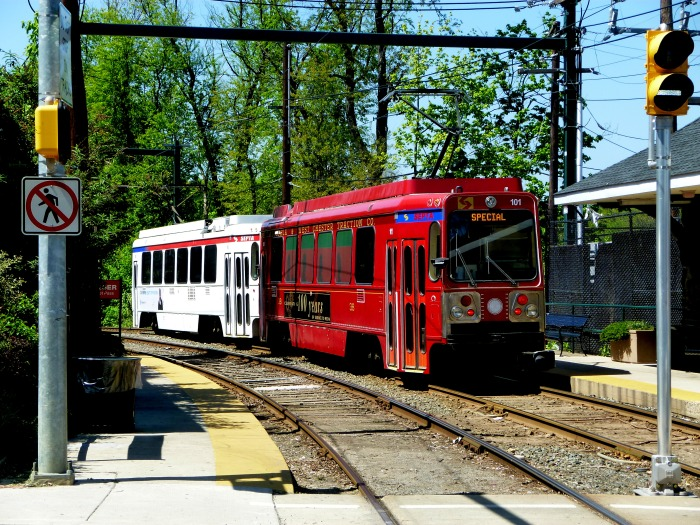 The fantrip train at Baltimore Avenue on the Sharon Hill line. (Photo by David Sadowski)
