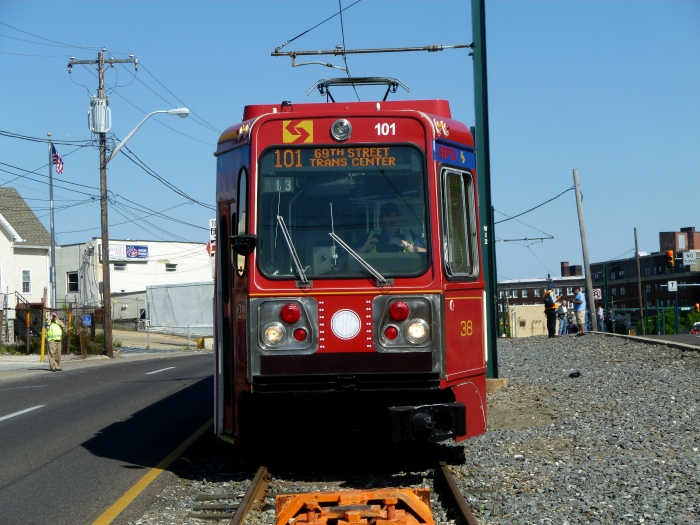 "The literal ""end of the line"" for the Media fantrip. Car 101 poses near the bumper post at the outer end of a storage track made up of the last remnant of the old West Chester trolley line along West Chester Pike. (Photo by David Sadowski)"