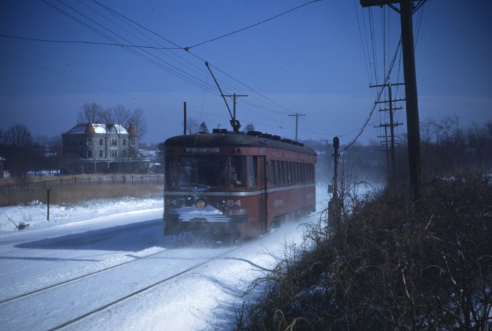 PST 64 zips through the snow alongside West Chester Pike in the 1940s.