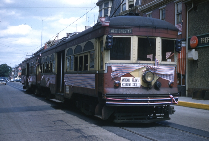 PST 66 and 76 on an NRHS fantrip in West Chester on June 6, 1954, two days after the end of regular service.