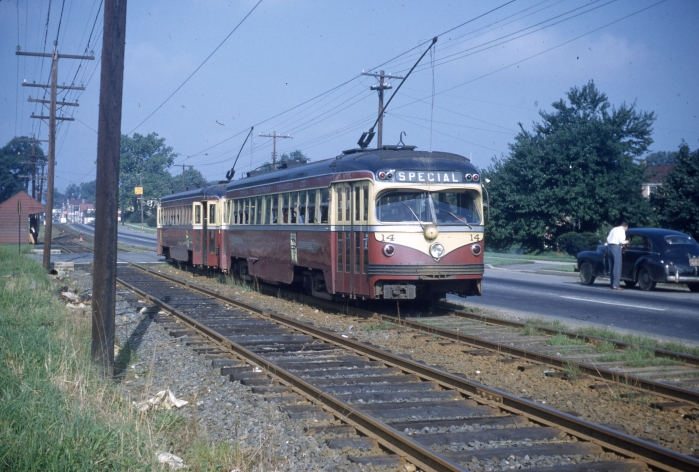 PST 24 and 14 at Westgate Hills on the West Chester line on September 4, 1950.