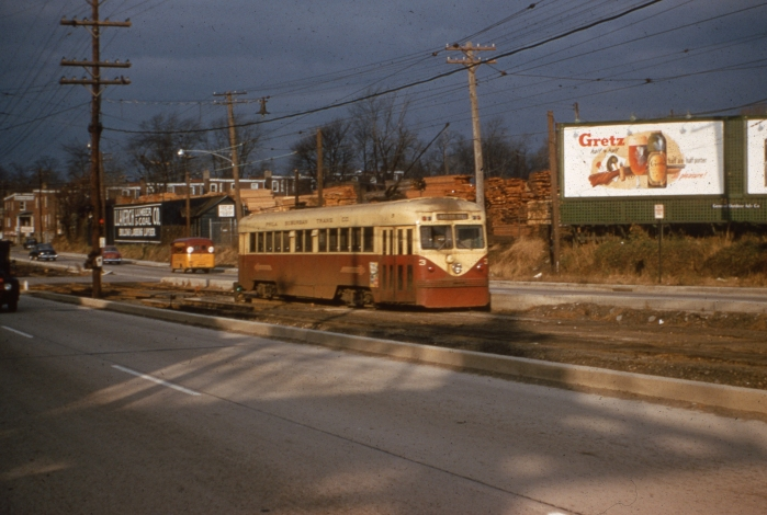 PST Brilliner 3 on West Chester Pike near the Llanerch Depot on November 26, 1954. (Photo by Ray DeGroote)