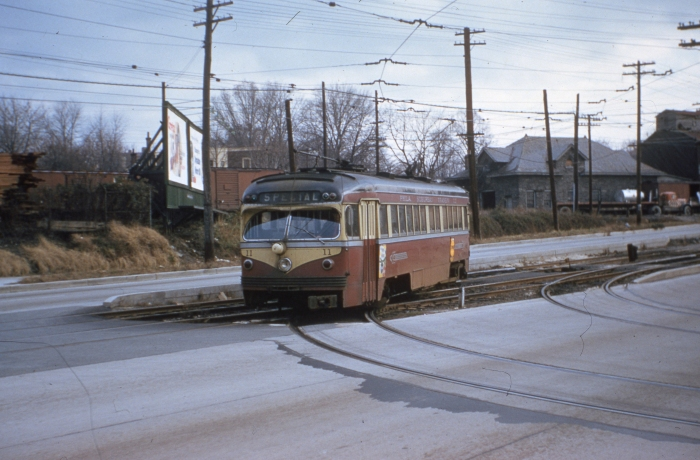 PST St. Louis car 11 on West Chester Pike near the Llanerch Depot on November 26, 1954. (Photo by Ray DeGroote)