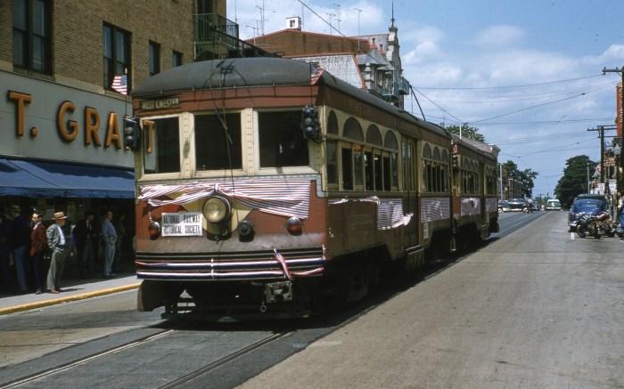 PST 66 and 76 on an NRHS fantrip in West Chester on June 6, 1954, two days after regular service ended.