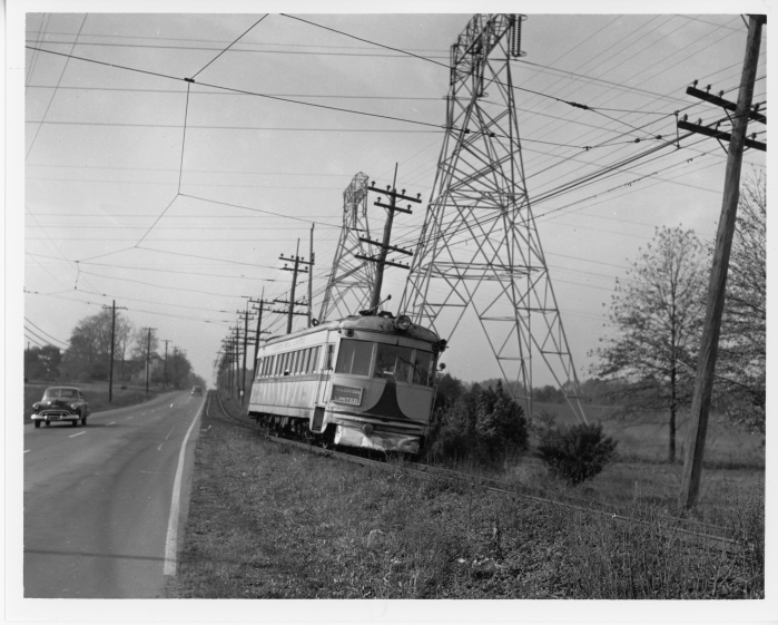 Lehigh Valley Transit ex C&LE lightweight northbound, leaving DeKalb Pike (US Route 202) near Center Square in October, 1950. (David H. Cope photo)