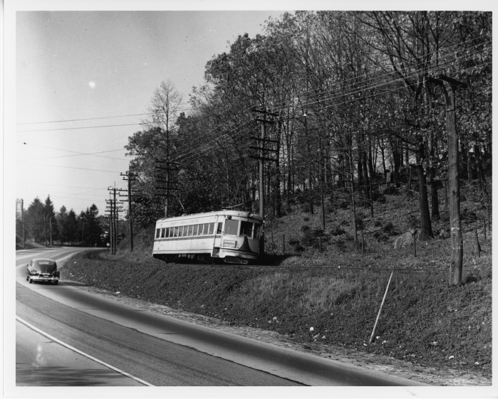 Lehigh Valley Transit southbound car 1030 (ex IRR) at Summit Lawn in October, 1950. (David H. Cope photo)