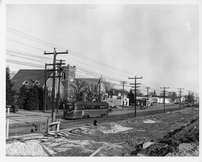 Philadelphia Suburban Transportation Company car 1 westbound on West Chester Pike between Manoa Road and Eagle Road on February 1, 1953 during the widening of West Chester Pike. (David H. Cope photo)