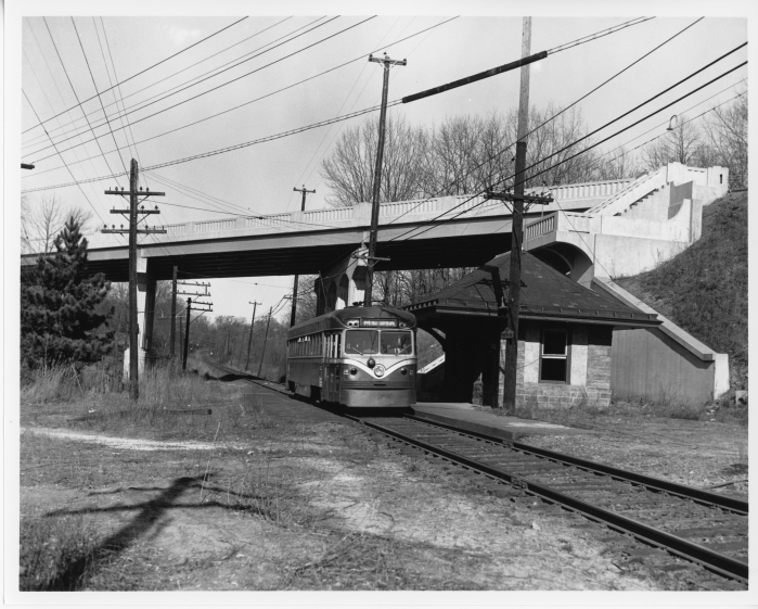 Philadelphia Suburban Transportation Company car 2 southbound at Chester Road on the Media line in 1952. (David H. Cope photo)