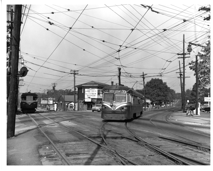 Philadelphia Suburban Transportation Company car 10 entering West Chester Pike from the Ardmore line, with 07 in the background at Llanerch. Car 10 was the last built by the Brill Company. The view is from September, 1952. (David H. Cope photo)