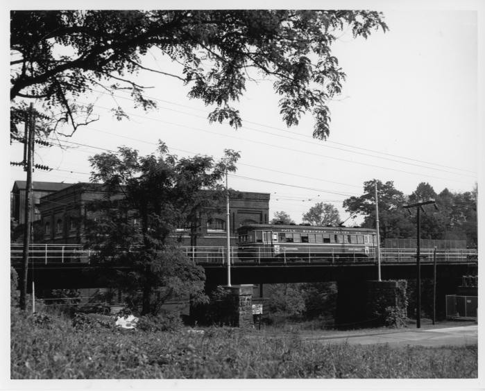 Philadelphia Suburban Transportation Company car 81 eastbound at Ridley Creek on June 3, 1954, the last day of West Chester service. (David H. Cope photo)