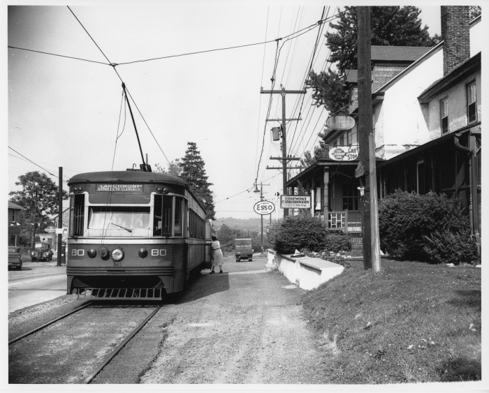 Philadelphia Suburban Transportation Company car 80 eastbound at Edgemont on June 3, 1954, the last day of West Chester operation. (David H. Cope photo)