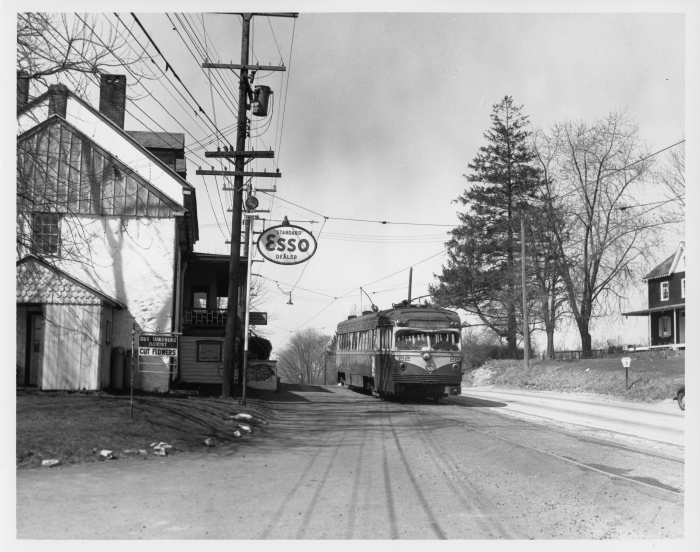 Philadelphia Suburban Transportation Company St. Louis car 22 eastbound at Edgemont on the West Chester line on April 10, 1954 - less than two months before the end of service. (David H. Cope photo)