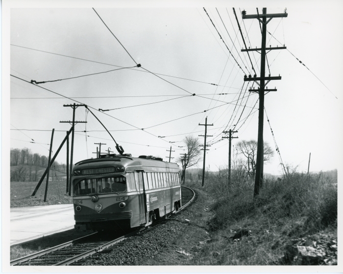 Philadelphia Suburban Transportation Company St. Louis car 24 eastbound at Street Road on the West Chester line on April 10, 1954. (David H. Cope photo)