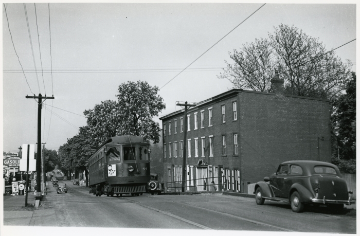 Philadelphia Suburban Transportation Company Jewett car 44 on Gay Street in West Chester, approaching the Pennsylvania Railroad overpass in 1941. (David H. Cope photo)