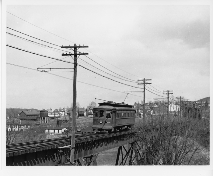 Lehigh Valley Transit St. Louis car crossing the Aineyville viaduct approaching Allentown in 1939. (David H. Cope photo)