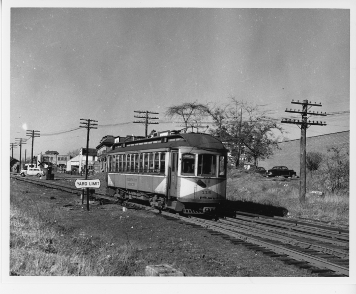 Atlantic City and Shore car 115 at Pleasantville in 1946. (David H. Cope photo)