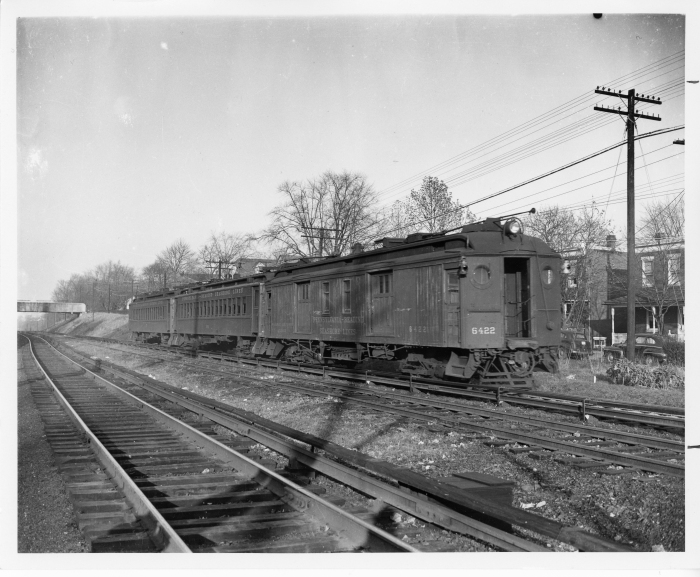 Pennsylvania Reading Seashore Lines West Jersey electric train at Woodbury around 1948. (David H. Cope photo)