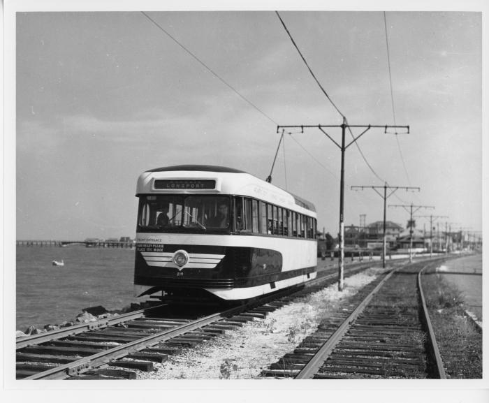 Atlantic City Transportation Company Brilliner 219 at Longport around 1954. (David H. Cope photo)