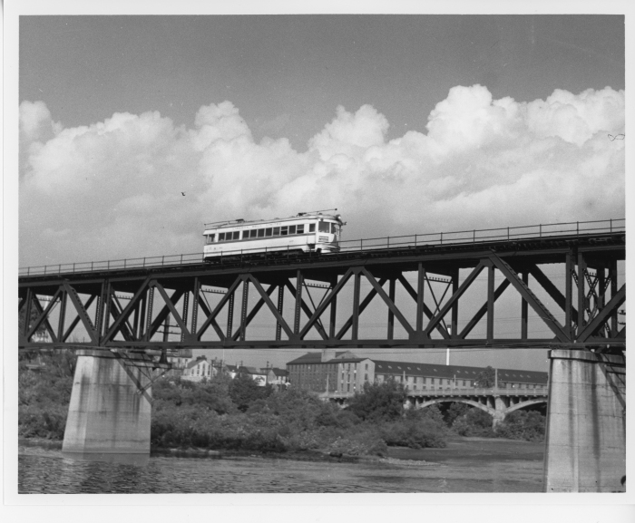 Lehigh Valley Transit southbound ex-C&LE lightweight crossing Schuykill River from Norristown to Bridgeport on the P&W around 1948. (David H. Cope photo)