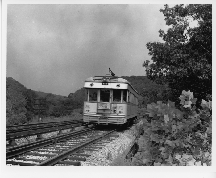 Lehigh Valley Transit ex C&LE lightweight northbound on P&W at Conshohocken Road in 1947. (David H. Cope photo)