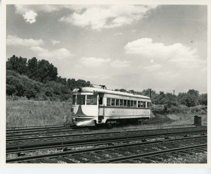 Lehigh Valley Transit car 1006 on the wye by the P&W Upper Darby shops around 1947. (David H. Cope photo)